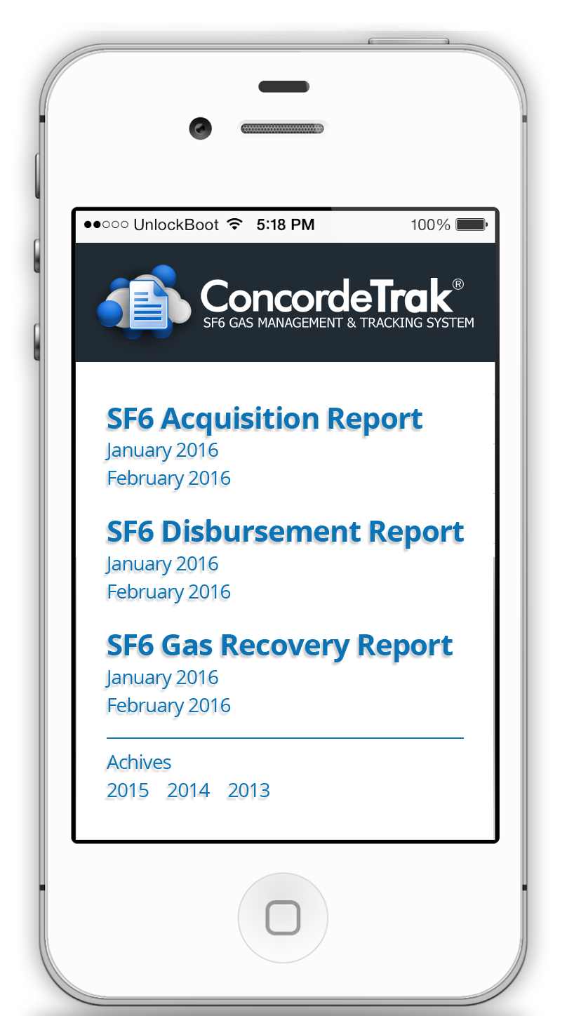 ConcordeTrak SF6 Management and Reporting Tools
