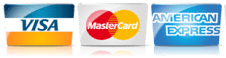 We accept credit cards Visa, MasterCard and American Express.