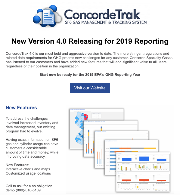EPA Greenhouse Gas Reporting - ConcordeTrak SF6 Reporting Software